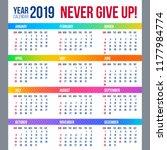 year calendar design 2019....   Shutterstock .eps vector #1177984774