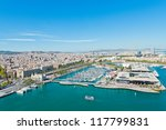 Aerial view of the Harbor district in Barcelona, Spain - stock photo