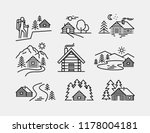 log cabin vector icons | Shutterstock .eps vector #1178004181