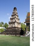 ancient Cham Thewi temple, landmark of Lamphun Thailand - stock photo