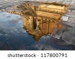 reflect picture of chedi luang pagoda , chiang mai - stock photo