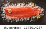 fresh raw salmon fish steak... | Shutterstock . vector #1178014297