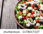 fresh vegetables greek salad .... | Shutterstock . vector #1178017237