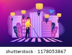 a blind man crossing the street ... | Shutterstock .eps vector #1178053867