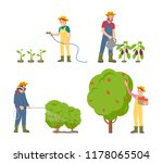 farmers watering plants with... | Shutterstock .eps vector #1178065504