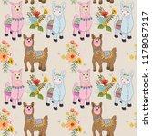 cute alpaca seamless pattern. | Shutterstock .eps vector #1178087317