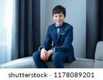 cute happy junior boy in dark... | Shutterstock . vector #1178089201
