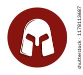 warrior's helmet icon in badge...