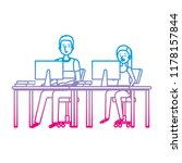 young couple working in the... | Shutterstock .eps vector #1178157844