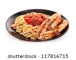 Isolated shoot of linguine with scampi on white background - stock photo