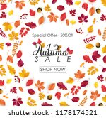 autumn sale background with... | Shutterstock .eps vector #1178174521