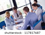 group of happy young  business... | Shutterstock . vector #117817687