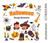 collection of halloween design... | Shutterstock .eps vector #1178201944