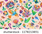paisley watercolor floral... | Shutterstock . vector #1178213851