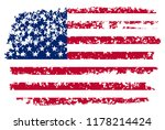 grunge american flag.old dirty... | Shutterstock .eps vector #1178214424