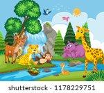 wild animals next to river...   Shutterstock .eps vector #1178229751