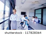 business woman  with her staff  ... | Shutterstock . vector #117828364