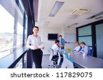 group of happy young  business... | Shutterstock . vector #117829075
