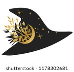 black witch hat on white...   Shutterstock .eps vector #1178302681