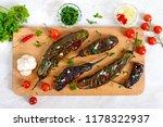 baked eggplant  garlic  fresh... | Shutterstock . vector #1178322937
