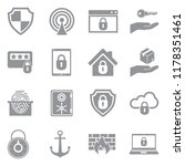 secure icons. gray flat design. ... | Shutterstock .eps vector #1178351461