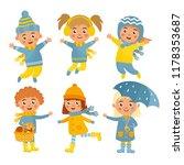 set with children in autumn... | Shutterstock .eps vector #1178353687