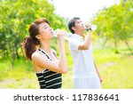 thirsty athletes drinking cool... | Shutterstock . vector #117836641