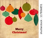 card with christmas balls ... | Shutterstock .eps vector #117836851
