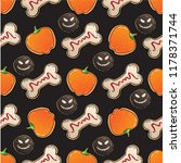 halloween seamless pattern with ... | Shutterstock .eps vector #1178371744