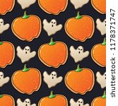 halloween seamless pattern with ... | Shutterstock .eps vector #1178371747