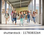 school kids running in... | Shutterstock . vector #1178383264