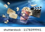 cinema blue background with 3d... | Shutterstock . vector #1178399941