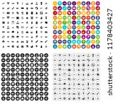 100 plane icons set in 4... | Shutterstock . vector #1178403427