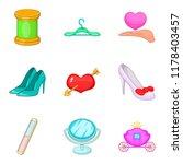beautiful maiden icons set.... | Shutterstock . vector #1178403457
