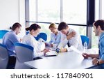 group of happy young  business... | Shutterstock . vector #117840901
