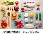 different vegetables on color... | Shutterstock . vector #1178419357