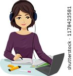 illustration of a teenage girl...   Shutterstock .eps vector #1178423581