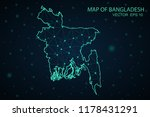 map bangladesh. wire frame 3d... | Shutterstock .eps vector #1178431291