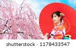 young asian girl wearing kimono ... | Shutterstock . vector #1178433547
