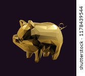 gold pig low poly vector 3d... | Shutterstock .eps vector #1178439544