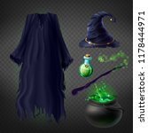 vector set with witch costume... | Shutterstock .eps vector #1178444971