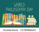 world philosophy day. books on...   Shutterstock .eps vector #1178486641