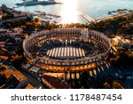 pula arena at sunset   aerial... | Shutterstock . vector #1178487454