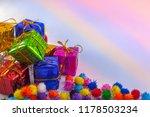 shiny gift box ornaments close... | Shutterstock . vector #1178503234