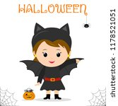 cute child dressed in a bat... | Shutterstock .eps vector #1178521051