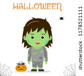 cute child dressed in a zombie... | Shutterstock .eps vector #1178521111