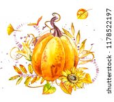 pumpkin. hand drawn watercolor... | Shutterstock . vector #1178522197