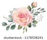 Stock photo watercolor floral bouquet composition with roses and eucalyptus 1178538241