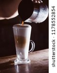 coffee latte on the bar. close... | Shutterstock . vector #1178552854
