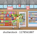 supermarket store interior with ... | Shutterstock .eps vector #1178561887